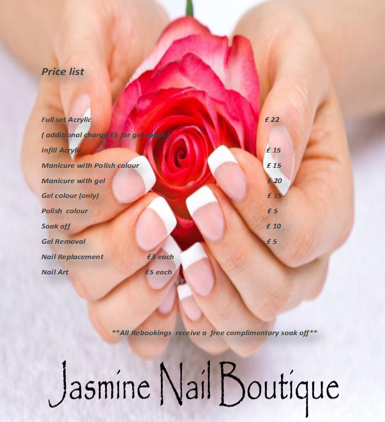 Prices for Nail Bar Boutique Weston super Mare